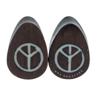 "1/2"" (13mm) Peace Sign and Dark Raintree Teardrop Plugs #7611"