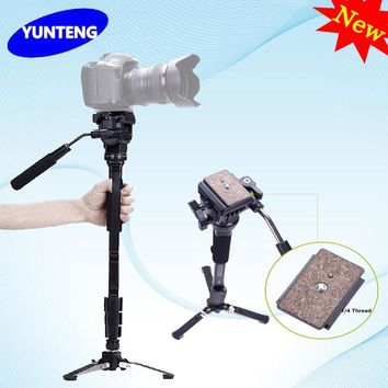 Professional YUNTENG C288 288 Monopod & Fluid Pan Head Ball & DV Unipod Mobile Phone Clip Holder For Canon Nikon DSLR VCT-288