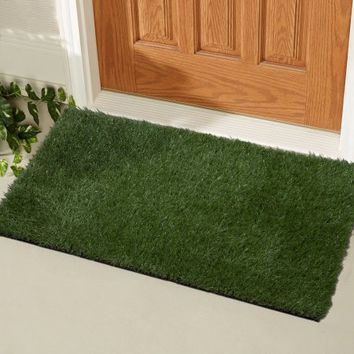"Ottomanson Garden Collection Indoor/Outdoor Artificial Solid Grass Design Doormat Green Turf, 20"" X 30"" - Walmart.com"