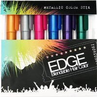 Hair Chalk - Metallic Glitter Collection - Edge Chalkers - Lasts up to 3 Days Sealant Built in - 80 Applications Per Stick - No Mess - As Seen on the Voice - Works with Any Color Hair | Temporary Hair Color: Beauty