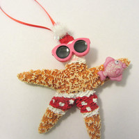 Starfish Christmas Ornament - Beach Themed Santa Ornament - FEATURED on ArtHobbyCraft