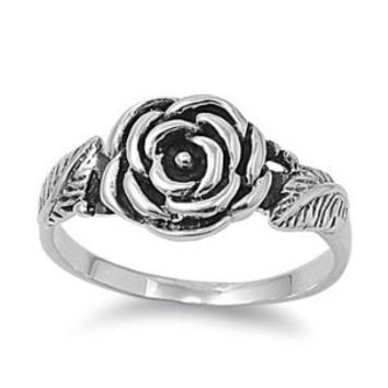 Sterling Silver Plain Polished Flower Rose Ring