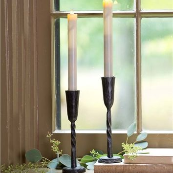 Hand-Forged Iron Battery-Operated Window Candle With Auto Timer