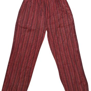 Bohemian Gypsy Chic Washed Red Unisex Yoga Pant Cotton Stripes Print Loose Trouser With Elastic Waistband Pants With Pockets