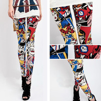 Superhero WonderWoman Comic Print Leggings