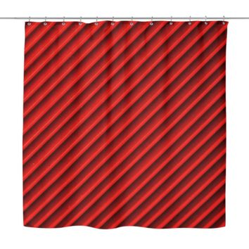Red Grooves Shower Curtain