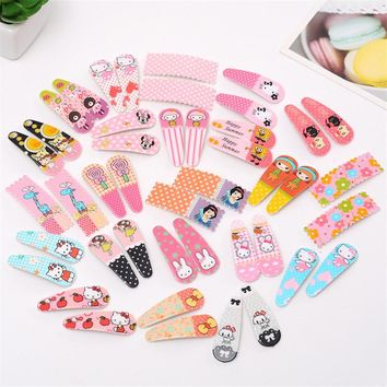 10 Pcs/lot Cute Hair Clip Kawaii Hairpin Flower Kids Barrettes Girl Cartoon Fashion Hair Accessories Animal Pattern Hairpins