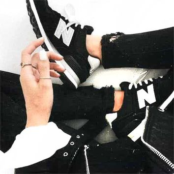 New Balance Casual All-Match N Words Breathable Couple Sneakers Shoes Black