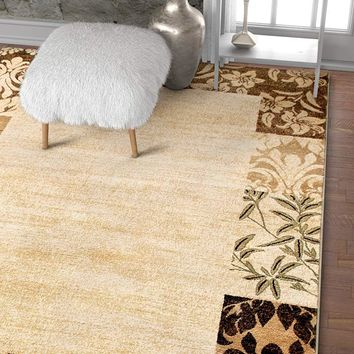 7033 Beige Damask Border Contemporary Area Rugs