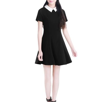 Allegra K Women Doll Collar Short Sleeves Flare Dress