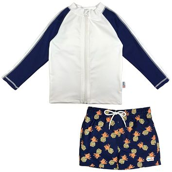 "Baby Boy Long Sleeve Rash Guard Swimsuit Board Shorts Set UPF 50+ | ""Pineapple Dreams"""