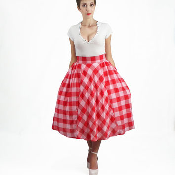 Long Skirt - Full Skirt, Plus Size Skirt, High Waisted Skirt, Gingham Skirt, 50's skirt, Circle Skirt, Pin Up Midi Skirt, Pleated Skirt