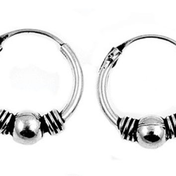 Sterling Silver Hoop Bali Earrings 13 x 4 MM