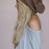 Slouchy Knitted Beret Beanie - Mocha