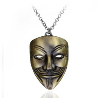 Men Vintage V for Vendetta Face Mask Hip-hop Strong Character Necklace with Gift Box [9067287107]