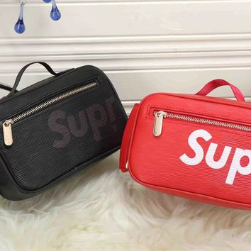"""Louis Vutitton×Supreme"" Women Letter Logo Zip Cosmetic Bag Handbag Small Square Bag"
