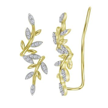 10kt Yellow Gold Women's Round Diamond Floral Climber Earrings 1-5 Cttw - FREE Shipping (US/CAN)