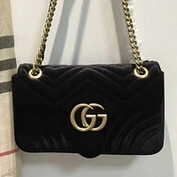 GUCCI Lake Blue Women Shopping Leather Metal Chain Crossbody Satchel Shoulder Bag Velvet G