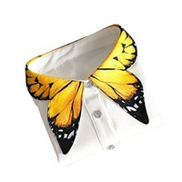 Shinywear Unique Yellow Butterfly Shape Decorative Collar Shirt Blouse for Women One Size