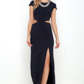Conversation Piece Navy Blue Backless Maxi Dress