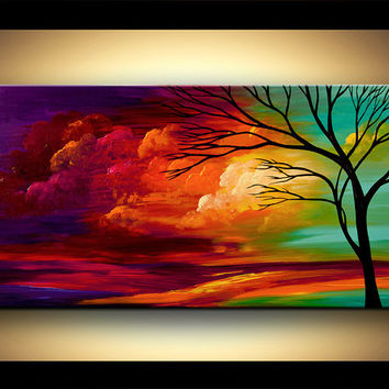 Landscape Tree Painting Original Abstract by OsnatFineArt on Etsy