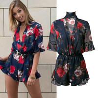 Chiffon Women's Fashion Summer Stylish Print Jumpsuit [11405172751]