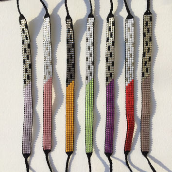 Seed Bead Friendship Bracelet - Metallic Art Deco Pattern
