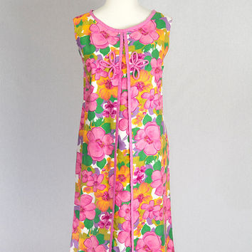 Vintage 60's Mod Pink Paradise Hawaii Shift Dress