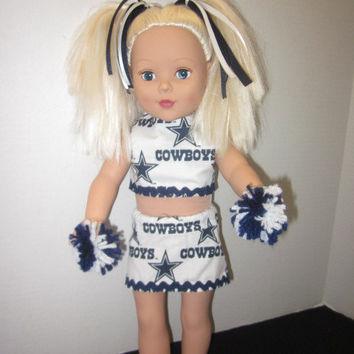 "Dallas Cowboys American Girl 18"" Doll Clothes Cheer Outfit By Sweetpeas Bows & More"