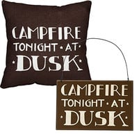 Campfire Tonight At Dusk - Camper's Gift Set - Decorative Sign and Throw Pillow - Cabin Lake Country