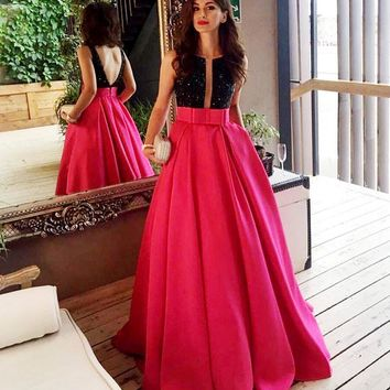 Real Photo Two Tone Ballgown Formal Evening Dresses Black Crystal Boat Neck Deep V Open Back with Sash Long Pageant Prom Gowns