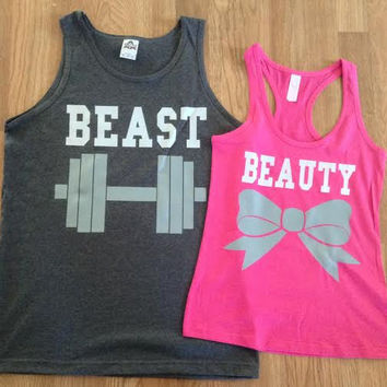 Free/Fast Shipping for US Beauty And The Beast Matching Couples Tank Tops/Shirts: Pink and Charcoal Gray (Gray and White Decal)
