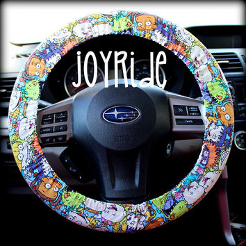 Steering Wheel Cover Rugrats Fabric with Matching Keyfob option Chucky Tommy Gift for kids of the 90's Car Accessories