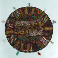 Dark Brown Extra Large Indian Patchwork Floor Pillow Cushion Sham