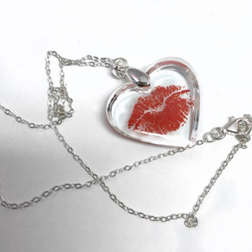 Clear resin heart pendant featuring flirty pouty red lips, sealed with a kiss on a 925 silver chain necklace, handmade jewelry, girls gift