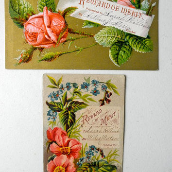Antique Victorian Reward of Merit Cards Set of 2 / Roses Flowers / 1800s Vintage / Jackpot Jen