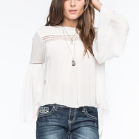 Patrons Of Peace Bell Sleeve Womens Top Cream  In Sizes
