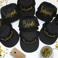 Black snapback Bridesmaid hats with gold glitter personalized lettering