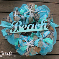 beach wreath, lake life wreath, summer wreath, starfish wreath, Nautical Wreath, Beach House, Beach Wedding, Coastal Decor, shell wreath