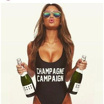CHAMPAGNE CAMPAIGN Letter Low Back High Cut One Piece Swimwear Custom Bodysuit Jumpsuits tracksuit for women Trikini Mayo