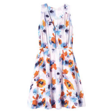 Rebecca Taylor Flowerpress Printed V-Neck Dress