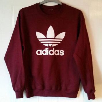 DCCKHV3 shosouvenir £º Adidas Burgundy Fashion Casual Long Sleeve Sport Top Sweater Pullover Sweatshirt