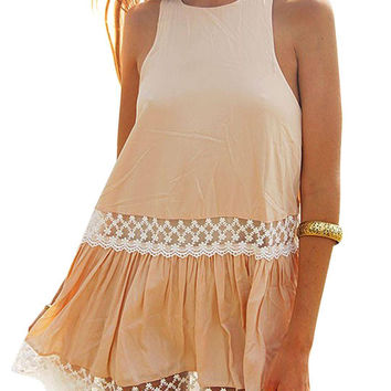 Lace Paneling Sleeveless Beach Dress in Khaki