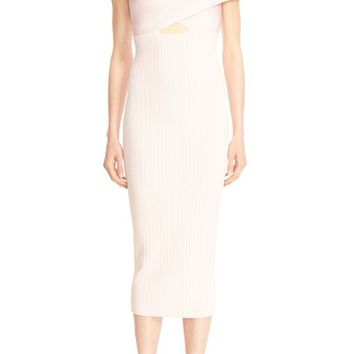Cushnie et Ochs Ryan Crossover Rib Knit Pencil Dress | Nordstrom