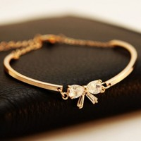 Simply Bow Rhinestone Golden Bangle