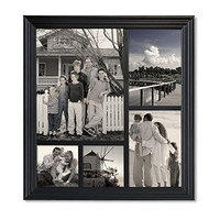 Furnistar Decorative Black Wood Wall Hanging Collage Picture Frame 5 Openings 8x10 5x7 4x4