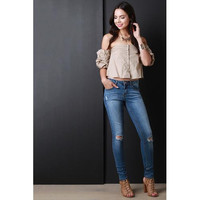 Classic 5-Pocket Distressed Skinny Jeans