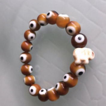 Evil Eye Bracelet with Elephant Handmade Bohemian Jewelry Stretch Bracelet Brown Greek Eye Beads Bone Elephant Stackable Boho Bracelets