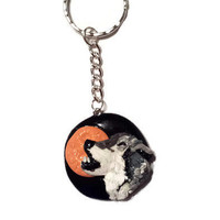 Wolf Keychain - Wolves Accessories - Polymer Clay Animal - Jewelry Moon Wolf - Men's Wolf Key Holder - Gift for Men