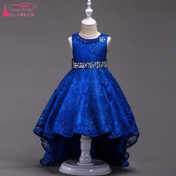 Blue High Low Lace Flower Girls Dresses For wedding 2018 In stock China Hot Sale Cheap Crystal Belt robe enfant mariage ZF008
